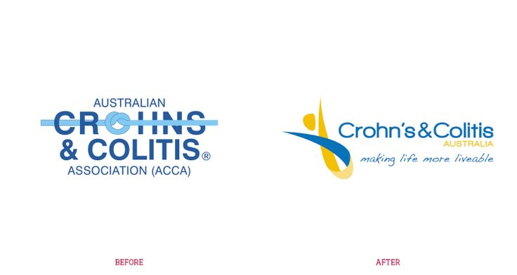 Before and After of the #logo for non-for-profit organisation, Crohn's and Colitis Australia