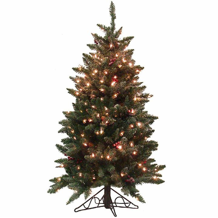 Asstd National Brand 4.5' Pre-Lit Frosted Edina Slim Artificial Christmas Tree with Clear Lights