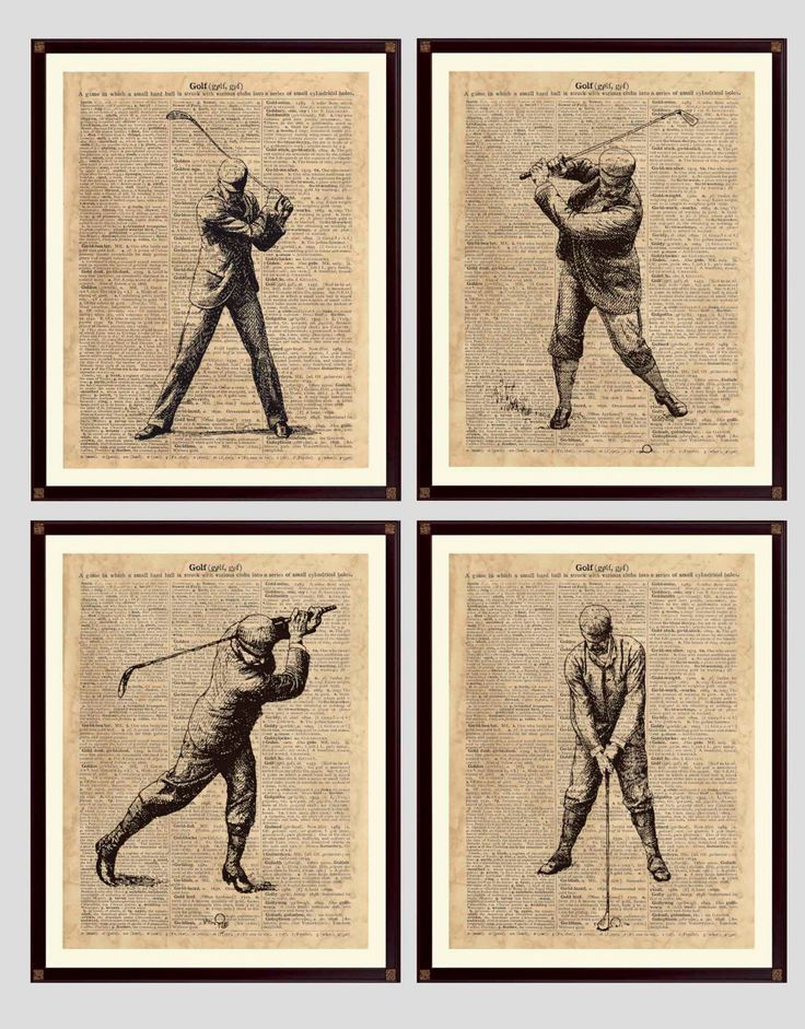 "Golf Print, Golf Decor, Golf art, Gift 4 Golfers, golfing art, ""Golf"" vintage dictionary page reproduction, digital Antiqued Paper, set of 4 by DicosArt on Etsy"