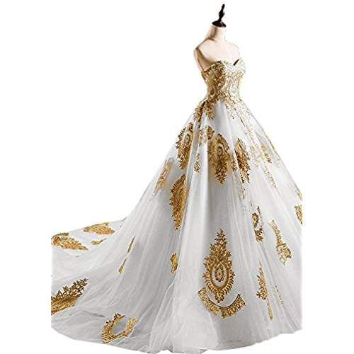 OnlyBridal Women's Strapless Tulle A Line Bridal Gown Gold Appliques 2017  Wedding Dress