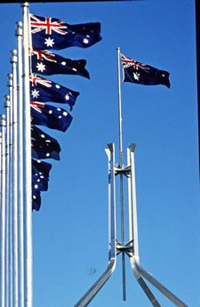Australian flags at Parliament House, Canberra..