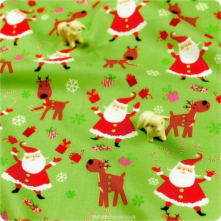 Christmas ♥ 52x48cm Cheerful Santa & Rudolf in Jasmine Green Cotton Fat Quarter Fabric £3.25