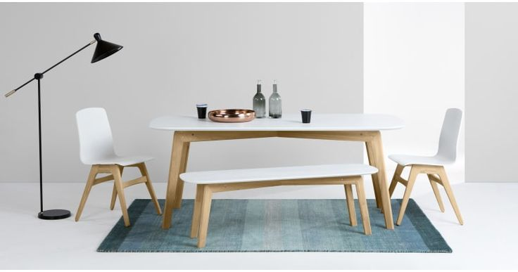 Dante Dining Table and Bench Set, Oak and White | made.com