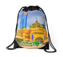 Flinders Street Station -- No Distracting Wires Drawstring Bag