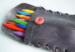 Tire pencil case made out of recycled tires.