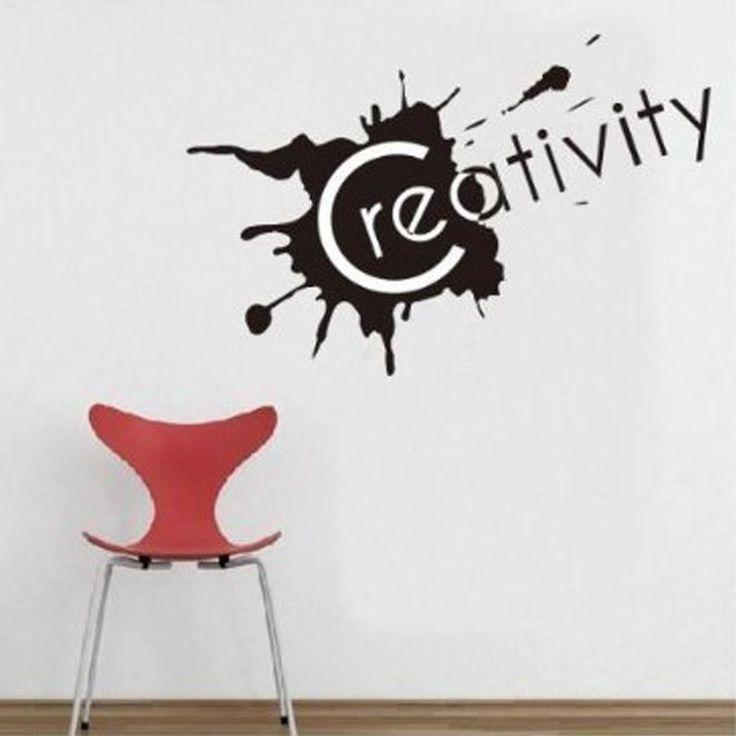 Een mooi vormgegeven muursticker met de tekst Creativity. Ook een leuke sticker voor op kantoor.