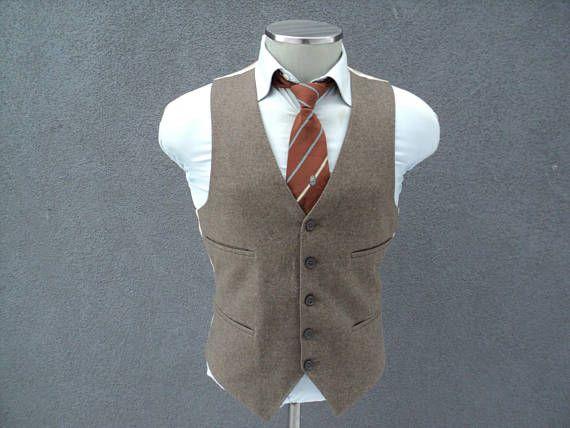 1960s Vintage Wool Vest Wool Waistcoat Size 38 Medium Med M