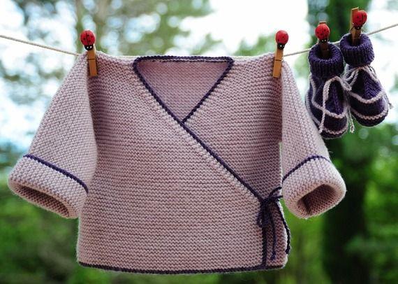 Birlikte Merinos 1-3 aylık bebek dokuz el örgü ceket ve terlik
