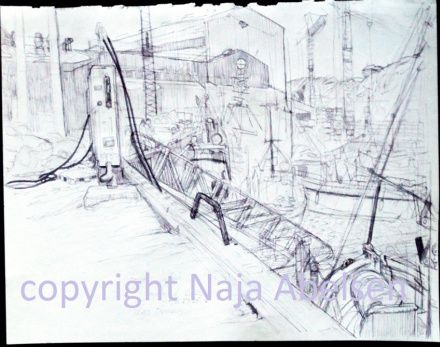 The harbour of Ilulissat, Greenland. Ink study by Naja Abelsen. 2010. For sale. STUDIES OF REALITY - www.123hjemmeside.dk/NajaAbelsen