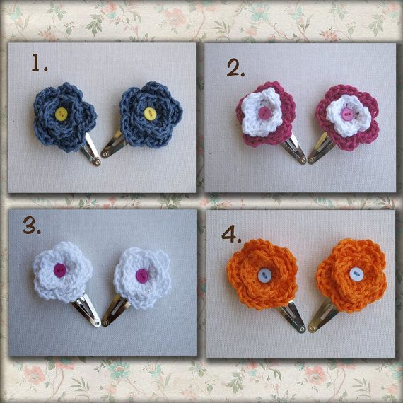 Crochet flower hair clips Silver snap girls hairclip by elenis4you, $7.65