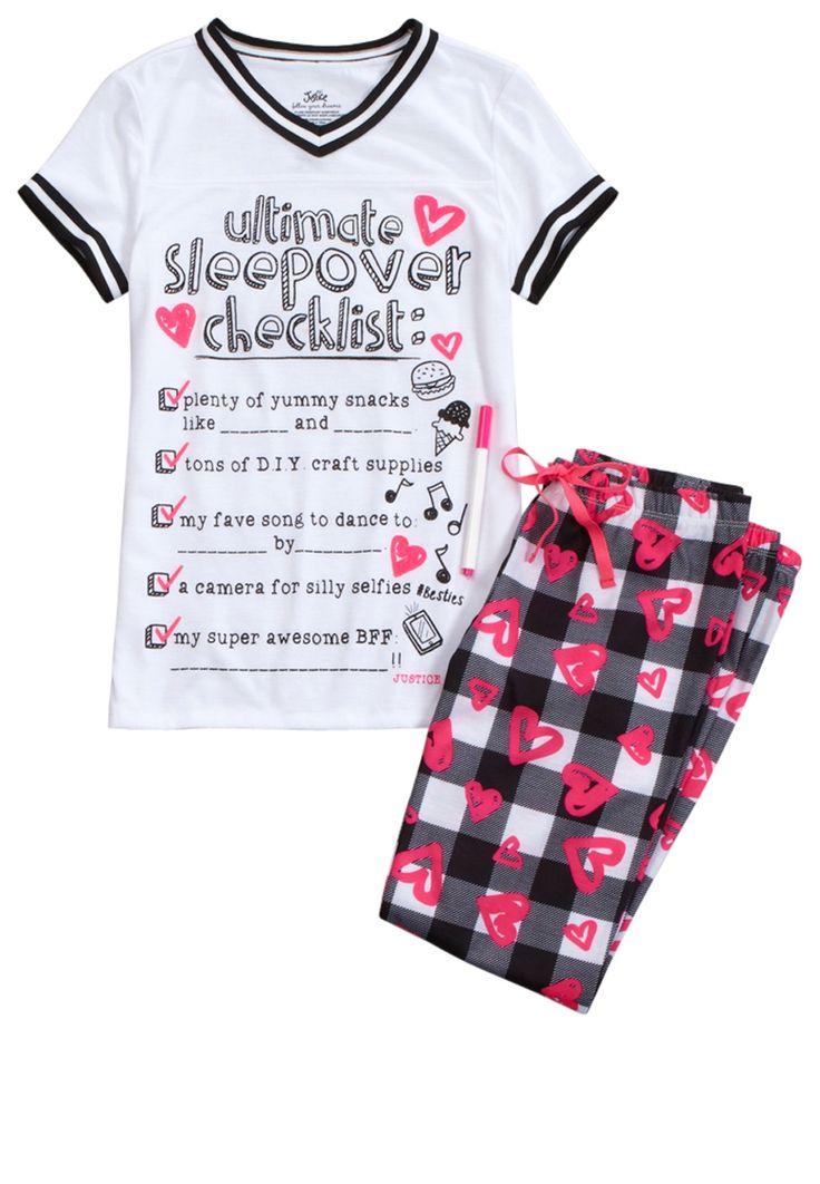 Sleepover Checklist Pajama Set (original price, $9.99) available at #Justice