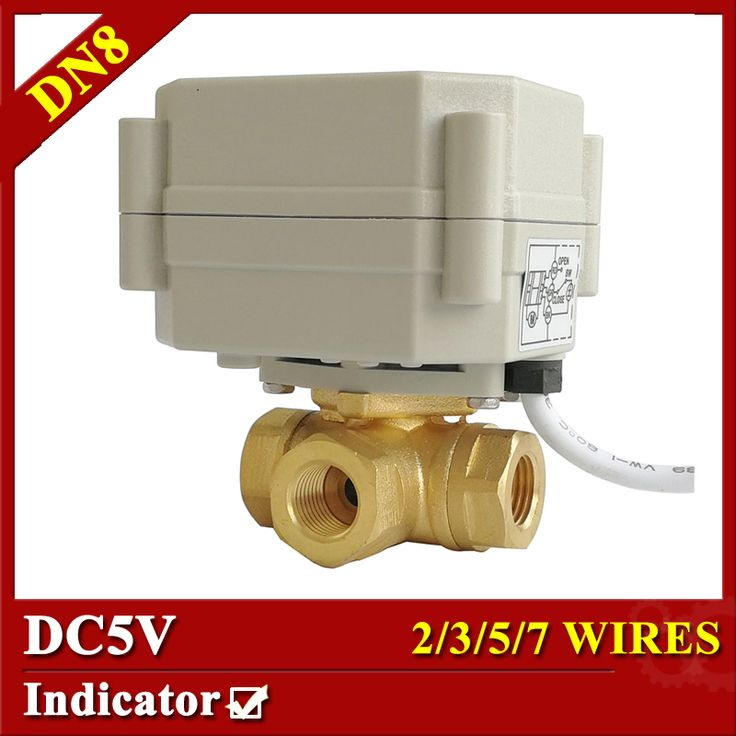 TF8-BH3-C 3 Way 1/4'' Horizontal motorized valve with position indicator DC5V On/Off 5sec 2/3/5/7 wires DN8 electric valve. Yesterday's price: US $25.93 (21.44 EUR). Today's price: US $23.08 (19.08 EUR). Discount: 11%.