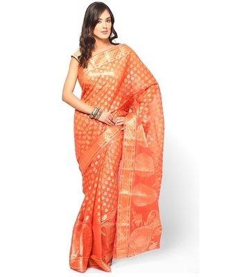Pure cotton supernet banarasi fancy zariwork saree