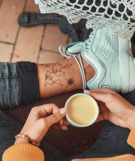 World Map Temporary Tattoo / Airplane Flash Tattoo / Wrist Tattoo for Travelers / Windrose Compass / Wanderlust / Couple Tattoo Set