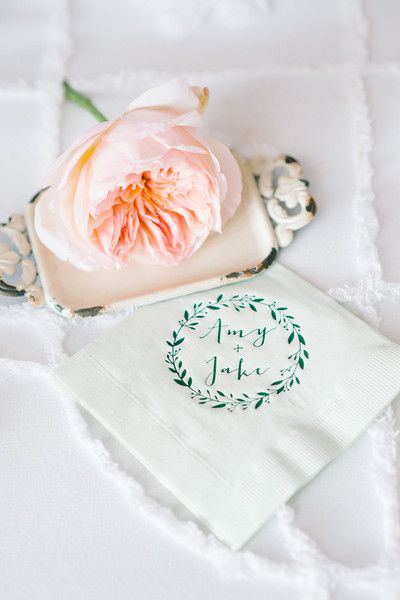 Personalized wedding cocktail napkins with modern calligraphy and wreath motif {Aaron and Jillian Photography}