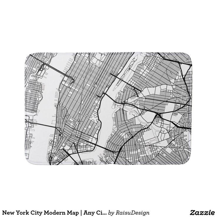 New York City Modern Map | Any City Bath Mat