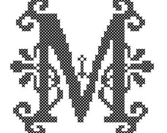 Letter A Cross Stitch/Cross Stitch Monogram/Cross