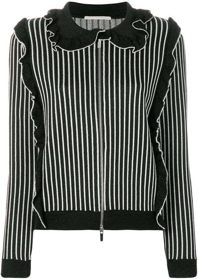Marco De Vincenzo pleated trim striped cardigan