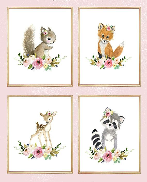 Floral woodland Print Set 4, flower Nursery Art , Nursery Decor, Kids Wall Art, nursery art,squirrel, fox, deer, raccoo, animal painting