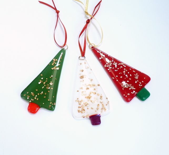 Christmas tree ornament, fused glass tree decoration