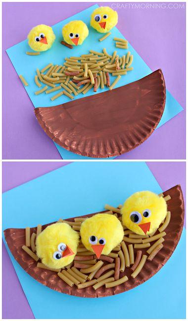 Pom Pom Chicks in a Noodle Nest Craft (Spring Paper Plate Art Project) | CraftyMorning.com
