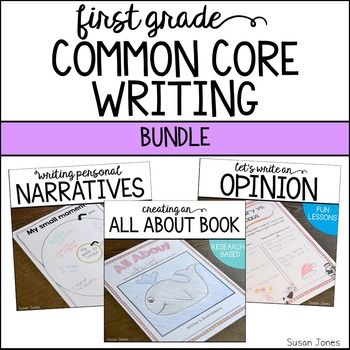 Common core writer's workshop bundle that helps students through the writing process. This unit covers narrative writing, opinion writing and informative writing for all first grade writing standards!