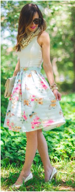 Gorgeous butterfly & floral midi skirt http://rstyle.me/n/hkyxenyg6