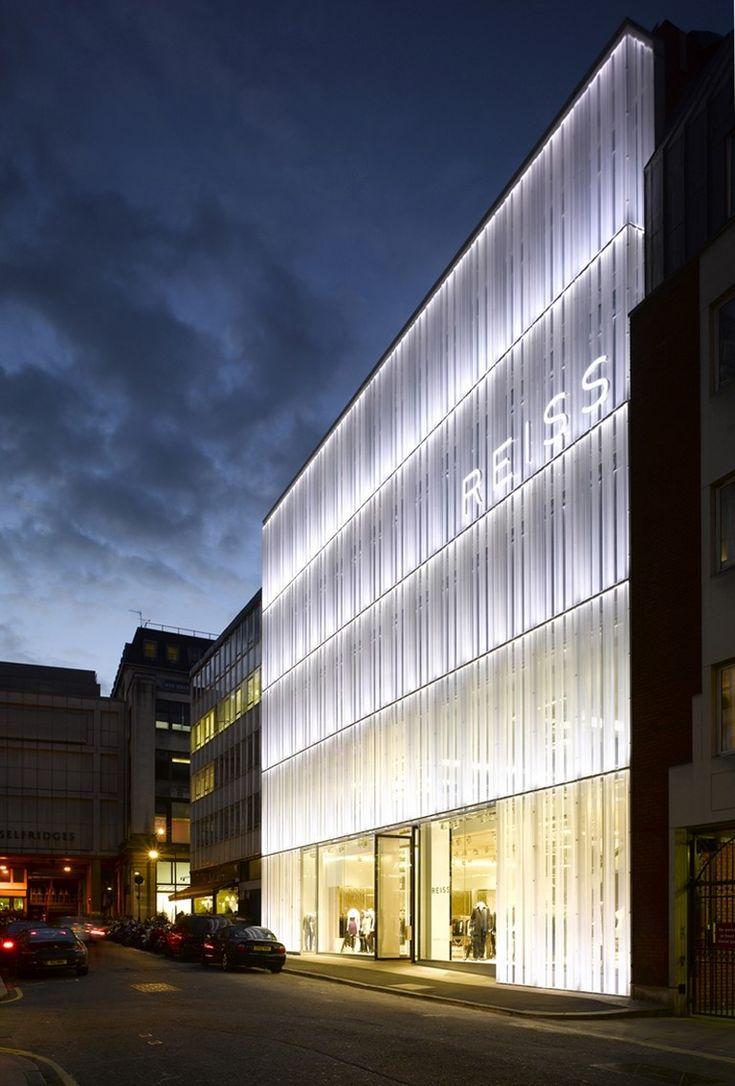 Glowing facade at night