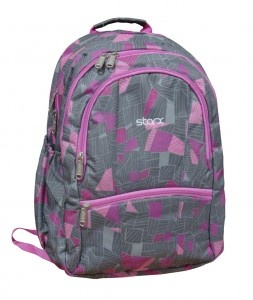 Appealing colors college or school backpack- brand new bags for college goers and school children.    2013 model latest college and school bags with different colors.    Appealing Colors and made up of strong material.    Adjustable cushion shoulder strap with water bottle holder.    STARX-FSB-15(Grey/Pink) with Self printed 600 denier PVC coated Polyester fabric and Overall Lining inside is of 46x33x21 cm dimension.