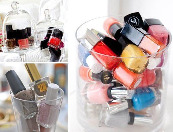 Makeup storage: Beautiful Cosmetics, Polish Jars, Organizations Ideas, Polish Display, Makeup Storage, Nails Polish, Storage Ideas, Apothecaries Jars, Diy Nails