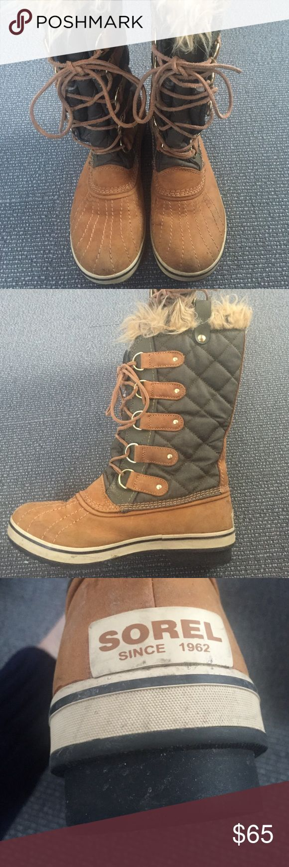 Sorel women's Joan of arc boots These gorgeous authentic Sorel Joan of arc boots are lightly worn. This pair is a combination of light brown suede effect uppers & trim, leather laces & dark green quilting with light brown fur trim. Sorel Shoes Winter & Rain Boots