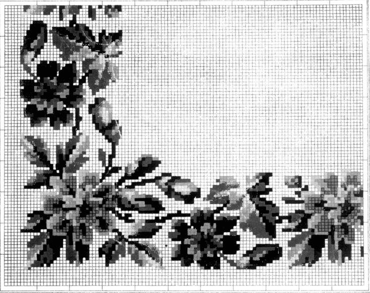 DigitaltMuseum - Broderimønster håndkolorert på rutepapir, antagelig fra 1880-årene. Tyskland.