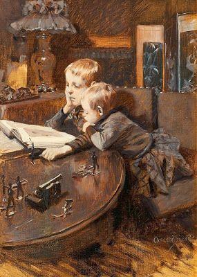 Children reading by Oscar Björck born January 15, 1860 in Stockholm, Sweden died December 5, 1929 (69) in Stockholm, Sweden