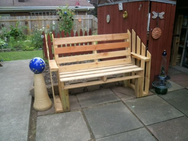 Pallet Bench For The Yard Made From 4 Half Skids (or Pallets).