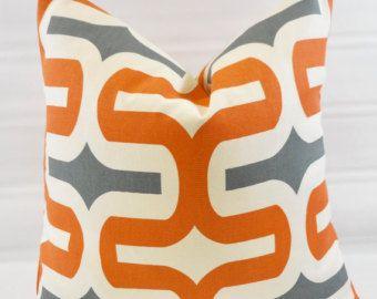 Orange  Pillow cover. Embrace Orange Gray & White. Geometric  Cushion Cover.Pillow Case.1 piece. cotton.Select size