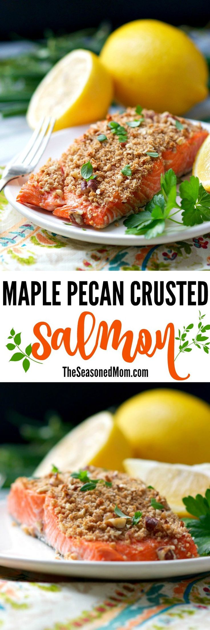 This Maple Pecan Crusted Salmon is a fresh, easy, and healthy clean eating seafood dinner recipe to change up your boring old fish routine -- and it's ready in 20 minutes!