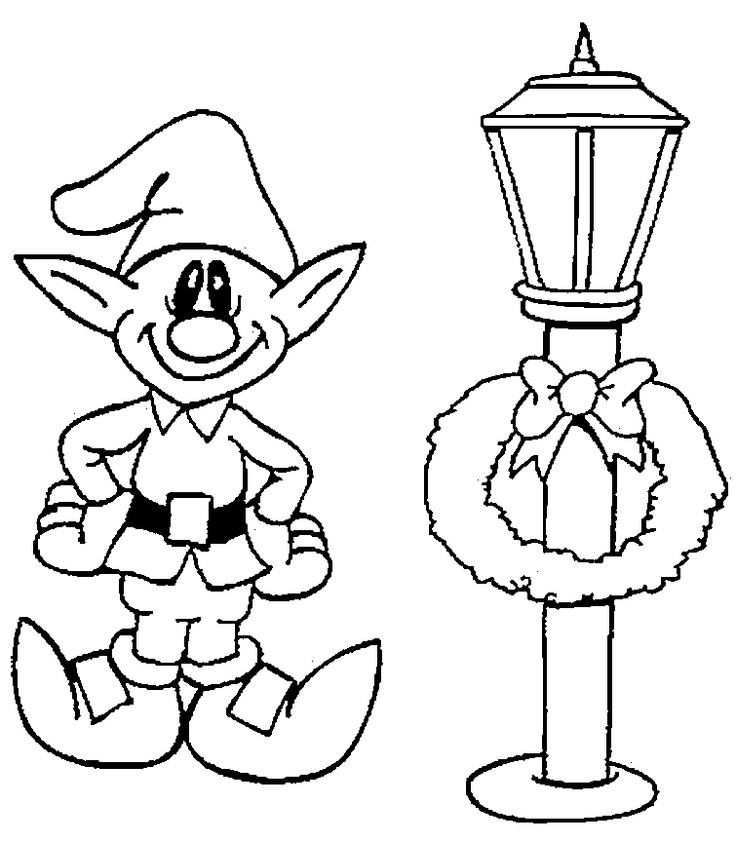 lamp post elf coloring page christmas Pinterest