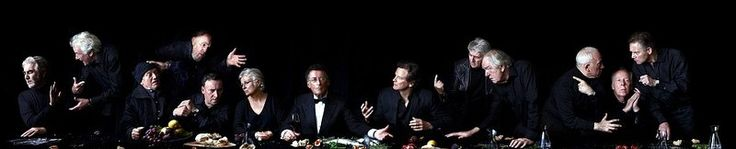 The Last Thespians Supper: John Alderton, Sir Richard Eyre, Steven Berkoff, Tim Pigott-Smith, Sir Antony Sher, Julie Walters, Robert Powell, Colin Firth, Tom Conti, Sir Michael Gambon, Simon Callow, Peter Eyre and Anthony Andrews.