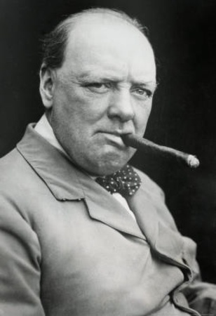 One of the 19th/20th Centuries' greatest: Winston Churchill smoking cigar. (as he did incessantly)