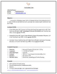 image result for resume format for freshers of ece - Resume Formats