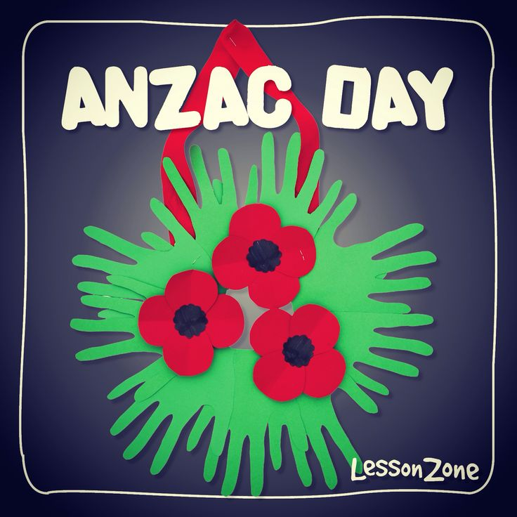 A different take on the Anzac Day wreath using children's hands traced and cut out for the leaves! Find the instructions at www.lessonzone.com.au/?s=anzac