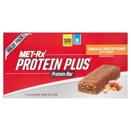 MET-Rx Protein Plus Chocolate Roasted Peanut with Caramel Protein Bar Value Pack, 3.0 oz, 4 count
