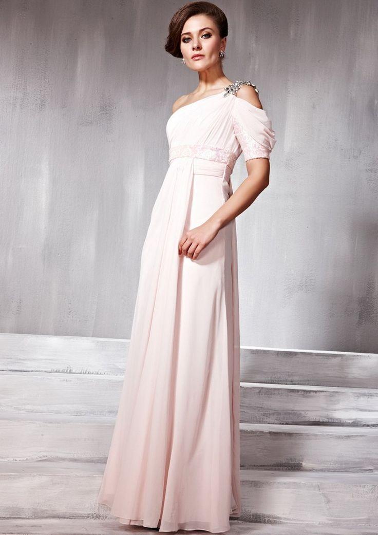Amazing A-line One-shoulder Short Sleeve Beading Floor-length Chiffon Dress