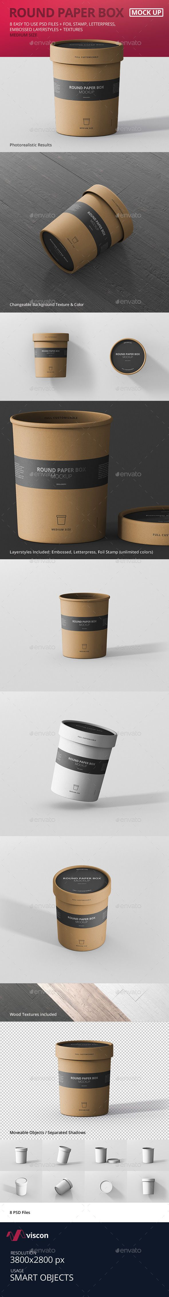 Paper Box Mockup Round - Medium Size - Food and Drink Packaging