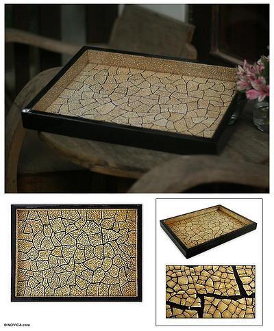 Eggshell mosaic tray - Cataclysm   NOVICA