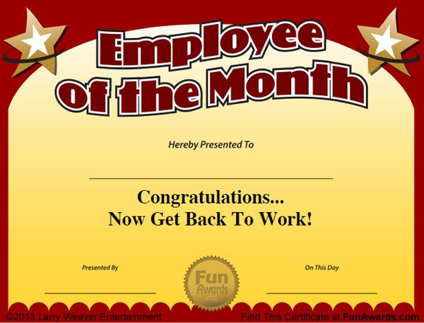 employee of the quarter certificate template - 101 funny employee awards now contains funny employee of