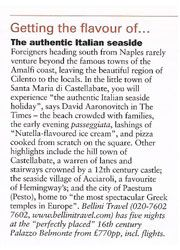 Palazzo Belmonte - Rassegna stampa - Getting the flavour of... The authentic Italian seaside - Hotel 4 stelle a Santa Maria di Castellabate