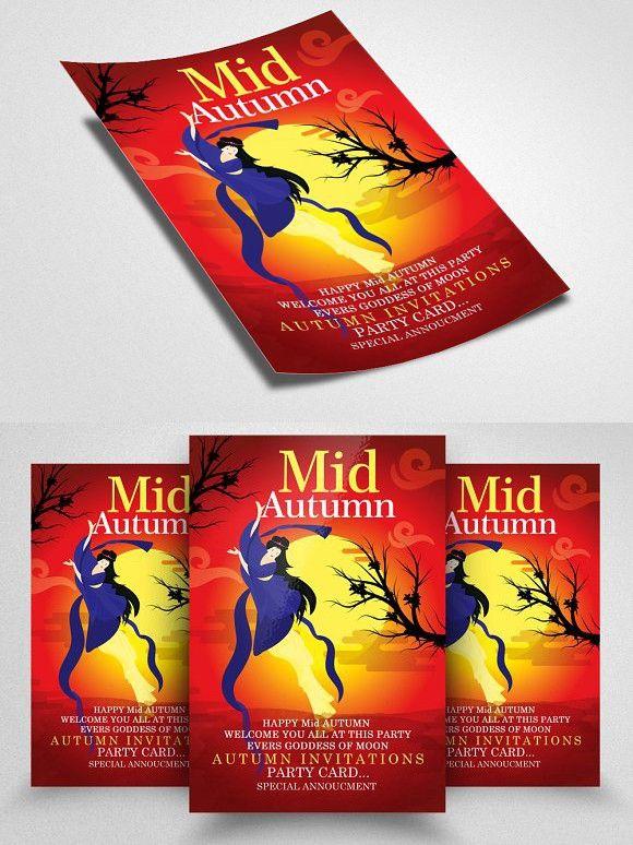 Mid Autumn Flyer Templates Vol 11 A4 Flyer Flyer Template