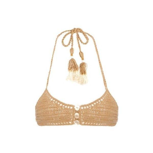 She Made Me Savarna crochet triangle bikini top ($113) ❤ liked on Polyvore featuring swimwear, bikinis, bikini tops, beige, triangle swimwear, tankini top, triangle swim wear, crochet bikini and swim tops