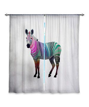 Look what I found on #zulily! White Monika Strigel Rainbow Zebra Curtain Panel - Set of Two by DiaNoche Designs #zulilyfinds